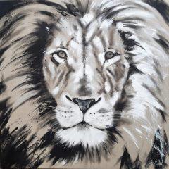Malerei von Stefanie Rogge - Big Cat Löwe, großformatige Zeitgenössische Malerei