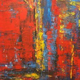 Abstrakte Malerei von Wolfgang Scholtz, Ausstellung Kunstspur 2019, Wennigsen Ortsteil Bredenbeck, Offene Ateliers